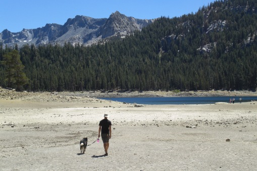 Walking down to Horseshoe Lake, which is severely low due to poor snowfall last winter.