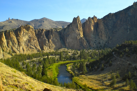 Gorgeous green valley surrounded by Smith Rock