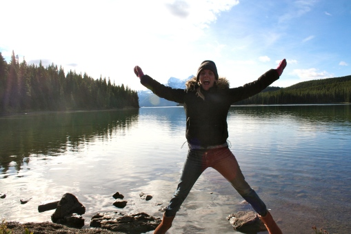 Fun (and cold!) times at Lake Maligne in Jasper National Park
