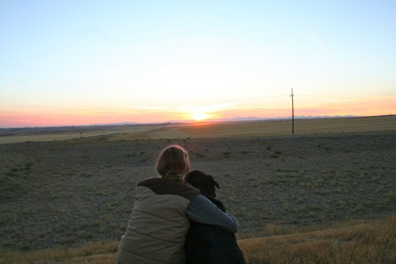 Zephyr and I enjoy a Montana sunset