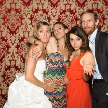 Meghan and Jonathan had an excellent photo booth! Here we are with Tom and Rachel, some of our oldest pals from high school.