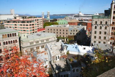 A view of Quebec City, complete with one of the cruise ships
