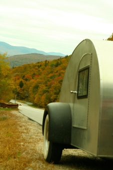 The trailer poses for a photo op somewhere in the Catskills