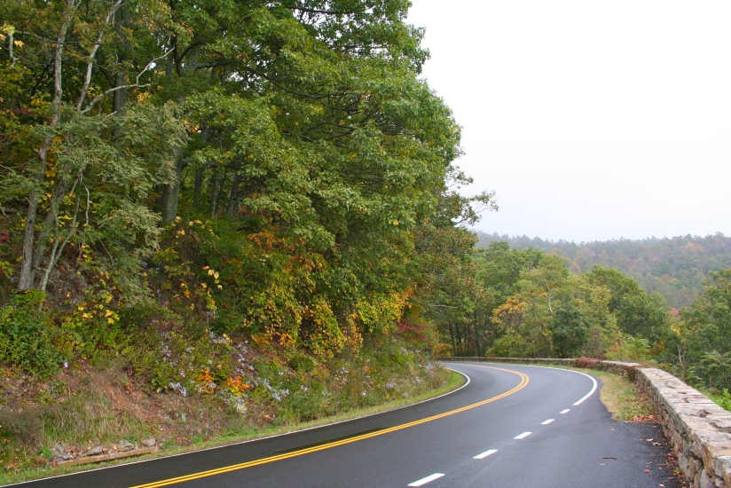 The picturesque drive includes trees, wildflowers and stone guardrails built by the CCC