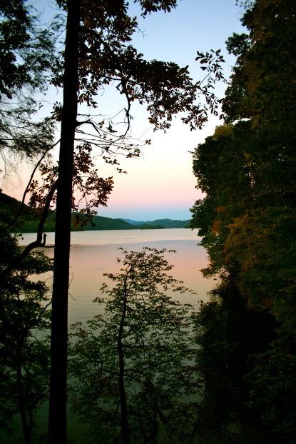 A view of the sunset from our campsite on Lake Watauga