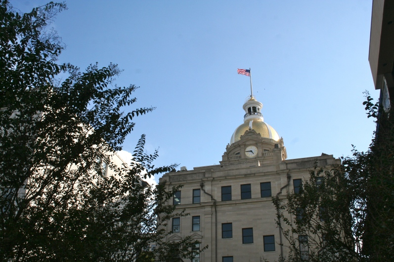 The dome of the capitol building in Savannah is covered in 24 karat gold leaf. Of course Andrew wanted to figure out a way to climb the dome and take some, since he is certain the Fiat money system will soon collapse...
