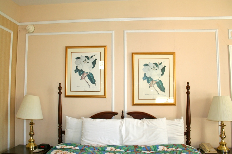 If any of my fellow design students are reading this blog, you will understand my dilemma here. I was able to straighten the frames, but Andrew wouldn't let me rehang them or move the bed an inch and a half to the left. I had a hard time sleeping...