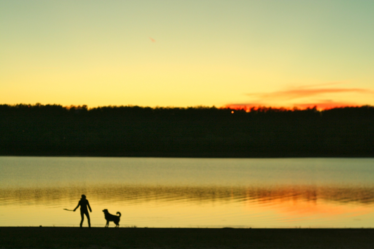 "Zephyr and I got a few extra rounds of ""Fetch the Stick"" in before the sun set."