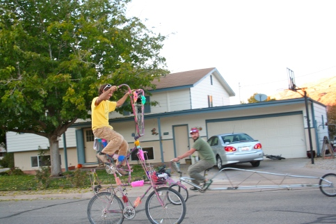 Brent makes awesome bicycles, including this tall bike he made for Burning Man and continues to ride around Moab on a daily basis.