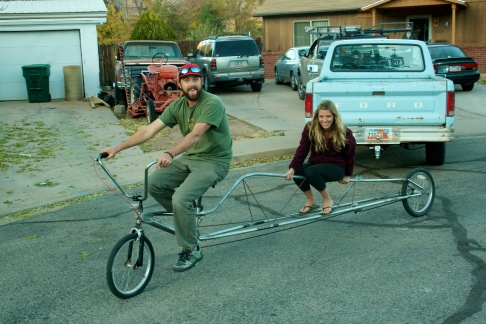 Jordan took me for a spin on this crazy limousine bicycle