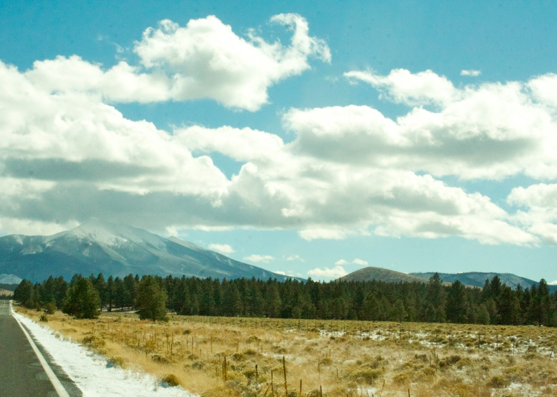A lovely view of a snowy mountain peak in northern Arizona