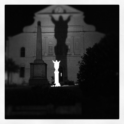 This old church in the French Quarter wins the award for the creepiest statue. Of course I love it!