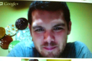 This is my view of Andrew when we chat. Video chat is so weird. The only time you can make eye contact is when one person looks at the camera, but then that person can't see the other person on the screen, so it's not REAL eye contact...ugghhh.