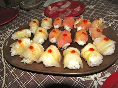 One of our Thanksgiving courses was handmade, freshly caught sushi. The other courses were scallops, clam steamers, fish tacos, lobster tails, and old snickers bars for dessert!
