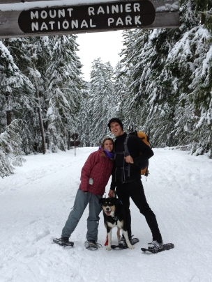 We snowshoed along a closed road in Mt. Rainier National Park.