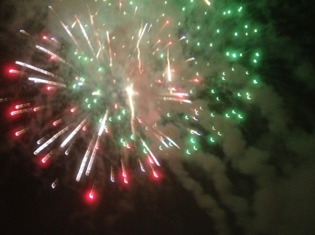The fireworks were literally just overhead. Andrew complained about getting ashes on his face!