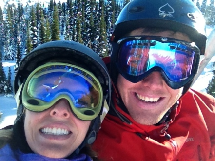 Look at all the sun glinting off our goggles! It was unbelievably gorgeous on the mountain.