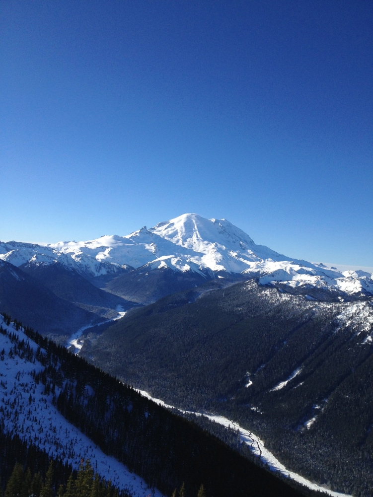 The view of Mt. Rainier from the top of Crystal Mountain.