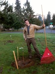 Doesn't he look handsome with a rake?