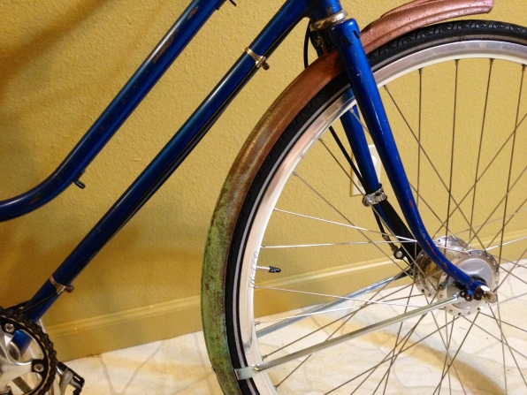Here's a closeup, because I refinished them myself and am so proud that they are now part of my lovely bicycle! Now we just need to fix the flat tire...