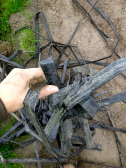 A tangled mass of drip lines. Untangling electric fencing (which is actually more like twine) is equally infuriating.