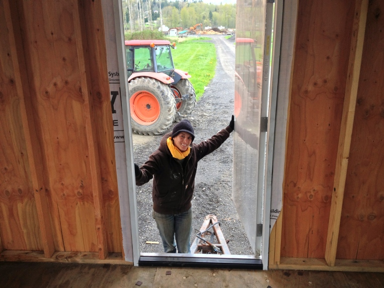 We have a door! It's officially a house!