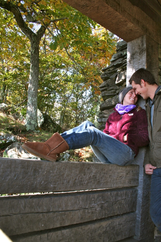 Cute couple moment on the Blue Ridge Parkway