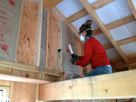 Despite looking like cotton candy, insulation is nasty stuff! We are still chugging away on the tiny house...