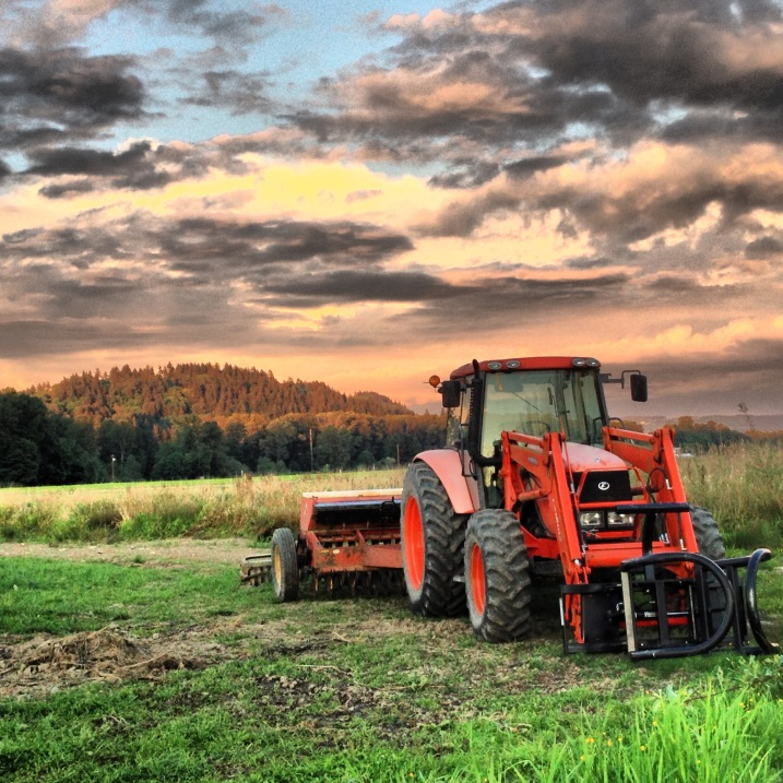 A beautiful sunset + orange tractor + green grass = awesome!
