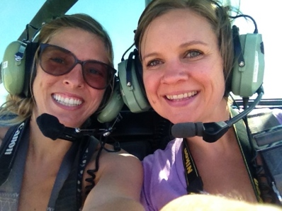 Just a couple of ladies in a helicopter! No biggie!