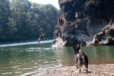 Zephyr gets very excited when we jump off the rocks. He likes to make sure we are still alive every time.