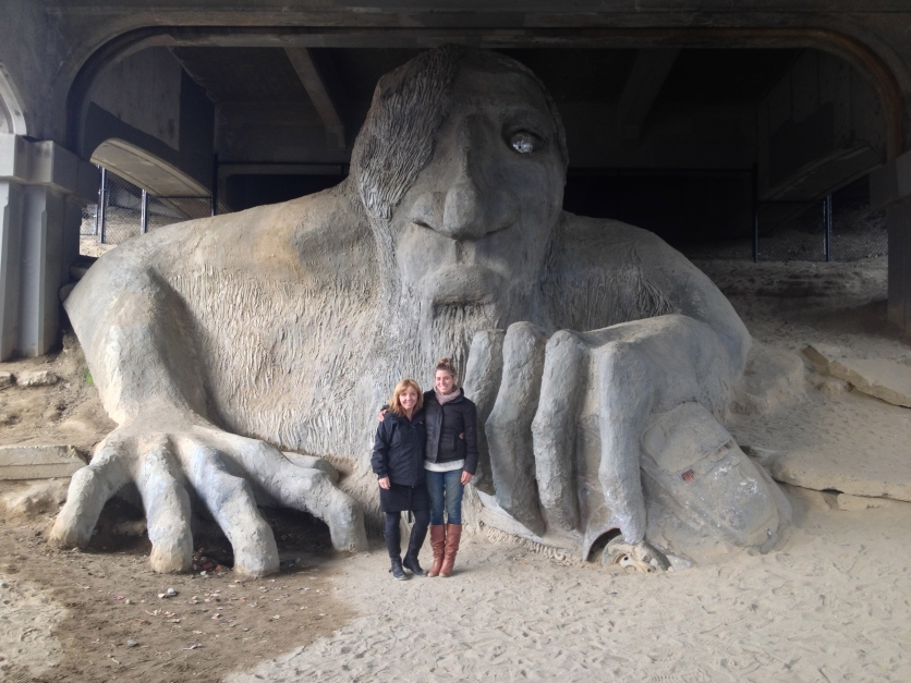 Mom and I visited the Fremont Troll in Seattle.