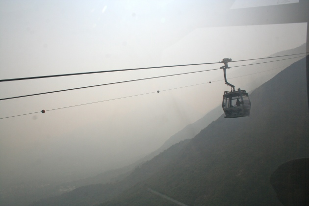 The long, smoggy ride in the gondola up to the giant Buddha. Not for the faint of heart!