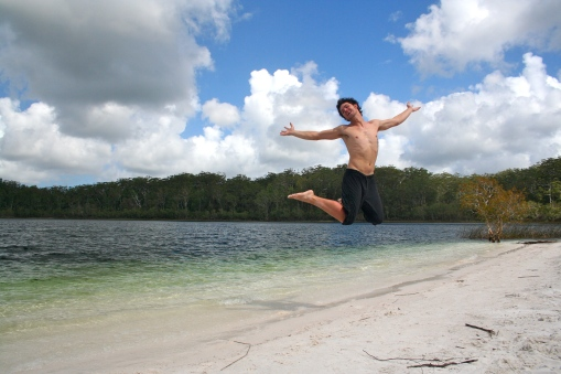 Andrews jumps for joy at Lake McKenzie
