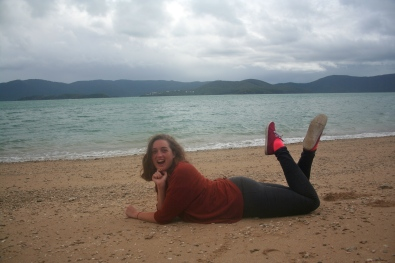 During a quick break in the rain we amused ourselves by posing on the beach. Cathy is a natural.
