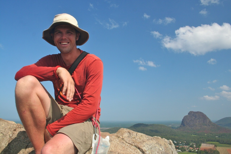 My handsome husband on the top of Mt. Ngungun in the Glasshouse Mountains