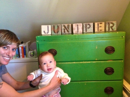 Meghan and Juniper pose with the blocks I made for my adorable little niece!