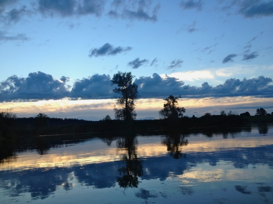A shot at dusk from the canoe.