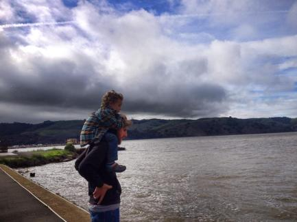 My pal Tom contemplates the Carquinez Strait with his son Liam in Benicia