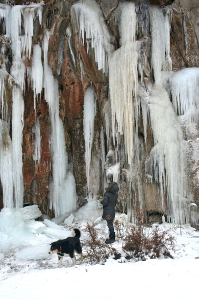 Contemplating giant icicles near Shoshone Falls