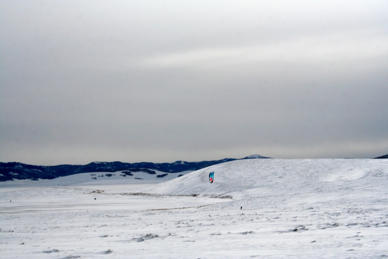 Kiteboarding in the snow!