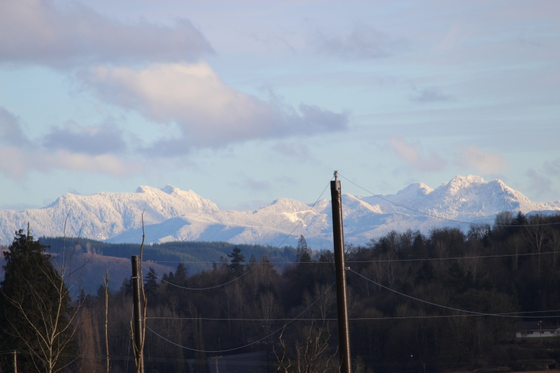 The view of the mountains. Yes, the power poles are in the way. But they bring us power, so you know.