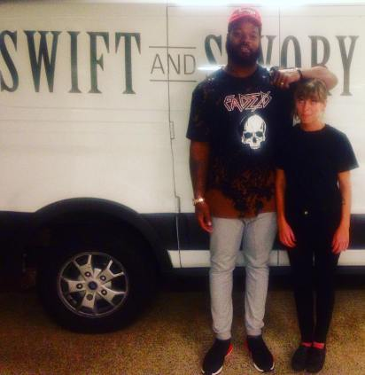 In my spare time I work on an awesome food truck, and sometimes I get to meet Seattle Seahawks players. This is Michael Bennett. He is big..